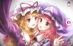 2girls :d :o arm_up asymmetrical_docking black_ribbon blonde_hair blue_dress blue_hat blush bow breast_press breasts cleavage collar collarbone dress eyebrows eyebrows_visible_through_hair frilled_collar frills hair_bow hat large_breasts minust mob_cap multiple_girls open_mouth outstretched_arm pink_hair purple_dress red_bow red_eyes red_ribbon ribbon ribbon-trimmed_collar ribbon_trim saigyouji_yuyuko self_shot short_hair smile surprised taking_picture tareme touhou v viewfinder violet_eyes wavy_hair white_hat yakumo_yukari