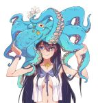 1girl animal animal_on_head bangs black_hair blue_eyes blue_ribbon bracelet breasts carrying_overhead catin closed_mouth eyebrows eyebrows_visible_through_hair flower hair_between_eyes hands_up holding holding_flower jewelry long_hair nail_polish no_bra octopus open_clothes open_shirt original ribbon school_uniform serafuku shell_necklace shirt simple_background sleeveless smile solo starfish uneven_eyes upper_body white_background white_flower
