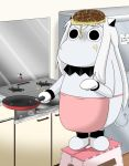 (o)_(o) apron comic commentary cooking food food_on_face food_on_head horns jewelry kantai_collection kitchen long_hair md5_mismatch mittens moomin muppo northern_ocean_hime object_on_head okonomiyaki sazanami_konami shinkaisei-kan standing_on_object step stool stove translated