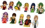 4boys 6+girls baseball_bat belt blonde_hair blush brown_eyes brown_hair camera character_name child curly_hair doctor dog_tags everyone fang furude_rika glasses hands_in_pockets hanyuu hat heart higurashi_no_naku_koro_ni houjou_satoko irie_kyousuke japanese_clothes laughing long_hair maebara_keiichi miko multiple_boys multiple_girls one_eye_closed ooishi_kuraudo open_mouth orange_hair ryou_(shirotsumesou) ryuuguu_rena shaded_face short_hair siblings simple_background sisters skirt sleeveless smile sonozaki_mion sonozaki_shion suspenders sweater_vest takano_miyo tomitake_jirou twins