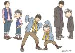 6+boys ;) brothers brown_hair coat fukuyama_jun hands_in_pockets hands_on_hips heart heart_in_mouth irino_miyu kyou_(biske_ao) matching_outfit matsuno_ichimatsu matsuno_juushimatsu matsuno_todomatsu multiple_boys one_eye_closed ono_daisuke osomatsu-kun osomatsu-san overcoat pants pants_rolled_up pink_shirt real_life scarf seiyuu shirt siblings simple_background sleeves_past_wrists smile twitter_username vest white_background