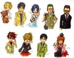 3girls 6+boys akasaka_mamoru bag beard black_hair blonde_hair blue_hair blush brown_hair chess_piece chie_rumiko child company_connection crown dress facial_hair fang formal grin higurashi_no_naku_koro_ni houjou_satoshi kasai_tatsuyoshi long_hair looking_at_viewer multiple_boys multiple_girls necktie okonogi_tetsurou open_mouth orange_hair ponytail ryou_(shirotsumesou) short_hair simple_background skirt smile stuffed_animal stuffed_toy suit sunglasses teddy_bear umineko_no_naku_koro_ni ushiromiya_battler ushiromiya_george ushiromiya_jessica ushiromiya_maria