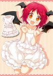 1girl alternate_costume blush demon_wings dress fang head_wings koakuma looking_at_viewer multiple_wings orange_eyes porurin_(do-desho) redhead sleeveless smile solo sundress touhou wings