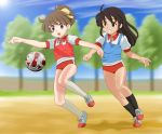 ball black_eyes black_hair brown_eyes brown_hair buruma chunpai extra gym_uniform hirasawa_ui k-on! long_hair multiple_girls playing_sports ponytail short_hair soccer soccer_ball sport teamgeist