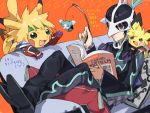 black_hair couch creature crossover drawr frown gen_1_pokemon gen_2_pokemon judas_(tales) kyle_dunamis male_focus mask mieu multiple_boys nishihara_isao pichu pikachu pokemon pokemon_(creature) reading short_hair stahn_aileron tales_of_(series) tales_of_destiny_2 tales_of_the_abyss translation_request violet_eyes