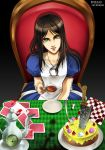 1girl alice:_madness_returns alice_(wonderland) american_mcgee's_alice apron bad_perspective black_hair dress green_eyes highres jewelry long_hair looking_at_viewer necklace nib_pen_(medium) sayakajou solo traditional_media
