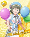 balloon blue_eyes character_name grey_hair hat idolmaster idolmaster_side-m short_hair smile uzuki_makio wink