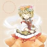 1girl biyon blonde_hair brown_hair closed_eyes flower hair_flower hair_ornament jeweled_pagoda multicolored_hair open_mouth shawl shirt short_sleeves skirt smile solo tiger_print toramaru_shou touhou two-tone_hair vest
