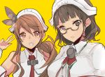 2girls bangs bare_shoulders blunt_bangs breasts brown_eyes brown_hair capelet detached_sleeves glasses headdress kantai_collection large_breasts littorio_(kantai_collection) long_hair multiple_girls necktie open_mouth pince-nez ponytail r_left roma_(kantai_collection) shirt sleeveless sleeveless_shirt smile wavy_hair