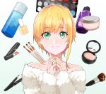 1girl blonde_hair cosmetics eyeshadow green_eyes idolmaster idolmaster_cinderella_girls lip_balm lipgloss lipstick_tube looking_at_viewer makeup makeup_brush miyamoto_frederica nesume short_hair smile solo
