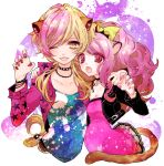 2girls ;d animal_ears arm_around_shoulder blonde_hair bow cheety_(show_by_rock!!) chino_machiko choker dress jacket lion_ears lion_tail long_hair looking_at_viewer lyna_(show_by_rock!!) multicolored_hair multiple_girls nail_polish one_eye_closed open_mouth paw_pose pink_hair ponytail red_eyes short_hair show_by_rock!! smile tail two-tone_hair yellow_eyes yuri