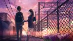 1boy 1girl :d akira_(mr_akira) arm_holding back backpack bag black_hair black_pants black_shoes blazer building chain-link_fence clouds crocus_(flower) fence flower from_behind grass hand_on_another's_arm hands_in_pockets highres jacket kneehighs lens_flare loafers long_hair long_sleeves miniskirt open_mouth original outdoors pants pleated_skirt power_lines purple_flower school_bag school_uniform shade shadow shoes shoulder_bag skirt sky smile sunset utility_pole_(object) vocaloid walking wall