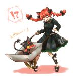 !? 1girl animal_ears black_bow black_shoes bow braid cat_ears cross-laced_footwear crossover dress green_dress hair_bow highres kaenbyou_rin litten_(pokemon) long_sleeves open_mouth pokemon red_eyes redhead shoes simple_background solo spoken_interrobang touhou twin_braids wheelbarrow