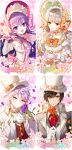 2boys 2girls :d add_(elsword) aisha_(elsword) black_hair bonnet bow bridal_gauntlets brooch cherry_blossoms cravat cup detached_collar detached_sleeves elsword eve_(elsword) flower formal gloves hat jewelry long_hair looking_at_viewer multiple_boys multiple_girls myoya open_mouth orange_bow orange_rose petals pink_bow plate purple_hair purple_rose raven_(elsword) rose smile striped striped_bow suit teacup top_hat violet_eyes white_gloves white_hair white_hat yellow_eyes