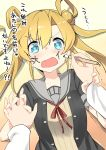 >:o 1boy 1girl :o absurdres abukuma_(kantai_collection) admiral_(kantai_collection) aqua_eyes arm_grab artist_name black_jacket blazer blonde_hair blush breasts buttons calligraphy_brush check_translation collarbone comic commentary_request double_bun facepaint hair_between_eyes hair_rings highres holding_arm holding_brush holding_hands interlocked_fingers jacket kantai_collection long_hair long_sleeves looking_at_viewer lying motion_lines on_back open_blazer open_clothes open_jacket open_mouth paintbrush pov pov_hands red_ribbon remodel_(kantai_collection) ribbon ryuki_(ryukisukune) sailor_collar short_sleeves tareme teardrop tears text translation_request trembling twintails unbuttoned upper_body wavy_mouth