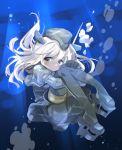 1girl blonde_hair blue_eyes garrison_cap gloves hat highres hizuki_yayoi kantai_collection long_hair smile solo u-511_(kantai_collection) underwater uniform