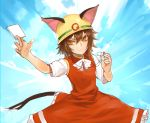 >:) 1girl animal_ears bow bowtie brown_eyes brown_hair card cat_ears cat_tail chen dress helmet jewelry kinketsu multiple_tails parody red_dress rescue_cat short_hair short_sleeves single_earring smile solo tail touhou two_tails upper_body whistle white_bow white_bowtie yuu-gi-ou