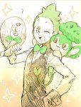 1boy ;) ? bow bowtie dent_(pokemon) gen_5_pokemon gen_7_pokemon green_hair one_eye_closed open_mouth pansage pokemon pokemon_(creature) pokemon_(game) pokemon_bw pokemon_sm rowlet smile sparkle trait_connection waiter wink