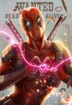 1boy bodysuit bullet deadpool fingerless_gloves gloves heart heart_hands highres marvel mask solo wanted yang_fan