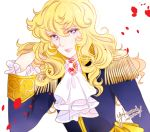 1girl androgynous artist_name blonde_hair blue_eyes brooch dated epaulettes hand_in_hair jewelry lips long_hair oscar_francois_de_jarjayes petals rose_petals shiny signature solo sparkling_eyes uniform upper_body versailles_no_bara yukinami_(paru26i)
