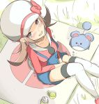 1girl between_legs blue_shorts brown_eyes brown_hair collarbone cup grass hat have_to_pee kotone_(pokemon) long_hair looking_at_viewer marill muroi_(fujisan0410) outdoors pokemon pokemon_(creature) sitting teacup thigh-highs white_hat white_legwear