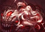 1girl breasts central_hime gods_(1073337800) highres horns kantai_collection lips long_hair looking_away open_mouth pale_skin red_eyes shinkaisei-kan sitting very_long_hair white_hair white_skin