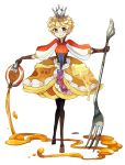 1girl black_gloves black_legwear blonde_hair blueberry brown_skirt butter crown food food_as_clothes food_themed_clothes food_themed_ornament fork fruit full_body gloves looking_at_viewer messy_hair morinaga_(brand) myun_(moukin_no_ana) original oversized_object pancake pantyhose personification pouring puffy_sleeves short_hair skirt smile solo standing syrup violet_eyes whipped_cream white_background