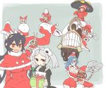+_+ 6+girls :3 angry apron aqua_hair arms_behind_head black_eyes black_hair bloody_marie_(skullgirls) blue_hair blush bow breasts cerebella_(skullgirls) cleavage clenched_teeth detached_sleeves disembodied_head double_(skullgirls) fangs filia_(skullgirls) fur_trim gift gloves grey_hair hair_ornament hair_over_one_eye hat head_in_hand head_swap large_breasts long_hair maid maid_apron mask multiple_girls navel open_mouth orange_hair painwheel_(skullgirls) parasoul_(skullgirls) peacock_(skullgirls) red_eyes redhead ribbon samson_(skullgirls) santa_costume santa_hat scar sharp_teeth short_twintails sitting skull_hair_ornament skullgirls smile snowman sumiyao_(amam) surgical_mask teeth twintails umbrella under_boob valentine_(skullgirls) vice-versa_(skullgirls) yellow_sclera