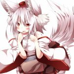 1girl animal_ears bare_shoulders blush daidai_ookami detached_sleeves fangs hat inubashiri_momiji looking_at_viewer open_mouth pom_pom_(clothes) red_eyes short_hair silver_hair simple_background solo tail tokin_hat touhou white_background wide_sleeves wolf_ears wolf_tail