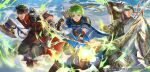 3boys arrow_(projectile) axe bow_(weapon) boyd_(fire_emblem) brothers company_name fire_emblem fire_emblem_cipher highres holding holding_arrow holding_axe holding_bow_(weapon) holding_lance holding_polearm holding_weapon horseback_riding lance mayo_(becky2006) multiple_boys open_mouth oscar_(fire_emblem) outdoors polearm riding rolf_(fire_emblem) siblings weapon