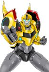 1boy autobot blue_eyes bumblebee clenched_hand glowing glowing_eyes kamizono_(spookyhouse) machine machinery mecha no_humans open_mouth pointing pointing_at_viewer robot science_fiction simple_background smile solo teeth transformers transformers_prime