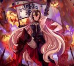 1girl armor banner blonde_hair blood bloody_weapon breasts dragon fate/grand_order fate_(series) gauntlets headpiece highres jeanne_alter long_hair looking_at_viewer pelvic_curtain ruler_(fate/apocrypha) ruler_(fate/grand_order) smirk solo sword thigh-highs very_long_hair weapon western_dragon yellow_eyes yuu_(pixiv769259)