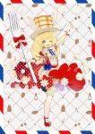 1girl ;d apron arm_up blonde_hair bloomers blue_bow blue_eyes bow braid ekm food_themed_clothes fork frills full_body gloves hat long_hair looking_at_viewer morinaga_(brand) one_eye_closed open_mouth original oversized_object pancake personification red_bow red_shoes red_skirt shoes skirt smile solo standing_on_one_leg thigh-highs underwear whipped_cream white_gloves white_legwear wings
