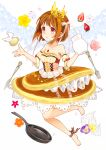 1girl ankle_ribbon barefoot bow brown_hair brown_skirt cherry_blossoms crown detached_sleeves dress egg flower food food_as_clothes food_themed_clothes fork frills fruit frying_pan full_body hair_bow jewelry knife layered_skirt looking_away milk morinaga_(brand) necklace original pancake personification pink_rose red_eyes rose short_hair shuu@maihikuboshuchu skirt solo strapless strapless_dress strawberry striped striped_bow whipped_cream wings