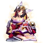 1girl aburaage animal_ears bangs bare_shoulders black_hair book book_stack chopsticks cracker creature facial_mark floral_print food fox_ears half_updo headgear japanese_clothes kimono kitsune_udon lace lace-trimmed_skirt lace-trimmed_sleeves long_hair long_sleeves looking_at_viewer off_shoulder open_mouth parted_bangs red_eyes senbei shirokitsune sitting smile solo sparkle tabi tamamo_(uchi_no_hime-sama_ga_ichiban_kawaii) transparent_background uchi_no_hime-sama_ga_ichiban_kawaii wide_sleeves yokozuwari