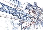 1boy autobot battle_damage headgear holding kamizono_(spookyhouse) machine machinery mecha monochrome optimus_prime robot science_fiction sketch solo sunrise_stance sword transformers weapon