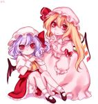 2girls ascot asymmetrical_hair blonde_hair bubble_skirt cosplay costume_switch finger_to_mouth flandre_scarlet flandre_scarlet_(cosplay) hat hat_ribbon interlocked_fingers lavender_hair long_sleeves looking_at_viewer mary_janes mob_cap multiple_girls puffy_sleeves red_eyes remilia_scarlet remilia_scarlet_(cosplay) ribbon shirt shoes short_hair short_sleeves simple_background sitting skirt skirt_set smile socks tis_(shan0x0shan) touhou vest white_background white_legwear wrist_cuffs