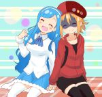 2girls :3 agenasu badge black_legwear blonde_hair blue_hair button_badge cabbie_hat closed_eyes doma_umaru domino_mask hair_up hairband hat himouto!_umaru-chan holding_hands hood hoodie long_hair mask multiple_girls necktie open_mouth shirt short sitting skirt smile tachibana_sylphynford thigh-highs