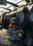 1boy 2014 alien artist_request cable clouds conductor_(ginga_tetsudou_999) ginga_tetsudou_999 gloves glowing glowing_eyes hat locomotive machinery newspaper reading science_fiction space_craft train_station uniform wire