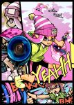 1girl beanie bike_shorts disruptor_(splatoon) domino_mask fangs hat holding holding_weapon ink_tank_(splatoon) inkling l-3_nozzlenose_(splatoon) looking_at_viewer mask mineta_naoki open_mouth paint_splatter pointy_ears shirt shoes single_vertical_stripe smile solo splatoon standing t-shirt tentacle_hair