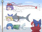 4girls itatatata japanese_clothes kimono mermaid monster_girl multiple_girls nagae_iku sekibanki shark smile touhou wakasagihime watatsuki_no_toyohime