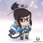1girl artist_request blue_gloves boots brown_eyes brown_hair chibi copyright_name full_body glasses gloves hair_ornament hairpin lowres mei_(overwatch) official_art overwatch smile solo standing