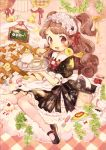 1girl :d ^_^ animal animal_on_shoulder apron bangs bird bird_on_shoulder blush bow brooch brown_hair carrying chalkboard closed_eyes clouds cup dress food fork hair_bow hairband jam jar jewelry knees_together_feet_apart lolita_hairband long_hair looking_at_viewer macaron maid maid_headdress mary_janes menu mokarooru omurice open_mouth original over-kneehighs pale_color pink_legwear plant puffy_short_sleeves puffy_sleeves red_eyes ribbon saucer shoes short_sleeves sitting sitting_on_cloud slice_of_cake smile solo spoon teacup teapot thigh-highs tray two_side_up vines