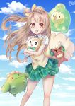 1girl absurdres brown_eyes brown_hair crossover duosion haetbit highres long_hair love_live!_school_idol_project minami_kotori one_side_up open_mouth pokemon pokemon_(creature) rowlet skiploom smile whimsicott