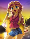 1girl aqua_eyes dated denim denim_shorts highres jewelry long_hair looking_at_viewer midriff multicolored_hair my_little_pony my_little_pony_equestria_girls my_little_pony_friendship_is_magic navel necklace open_mouth outline shorts sidelocks signature smile solo sparkle sunset sunset_shimmer uotapo white_outline