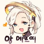 1girl :d blue_eyes chibi heart high_ponytail korean mechanical_halo mercy_(overwatch) open_mouth overwatch short_hair smile solo takotsu translation_request upper_body white_hair