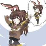 1girl animal_ears black_eyes brown_hair bunny_girl bunny_tail chibi hair_ribbon highres iesupa rabbit_ears ribbon rwby speech_bubble tail velvet_scarlatina