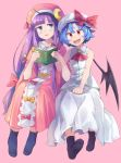 2girls :d ahoge anarogumaaa ascot bangs bat_wings black_legwear blue_eyes blue_hair blunt_bangs blush book bow brooch commentary_request crescent crescent_hair_ornament dress eyebrows eyebrows_visible_through_hair fang full_body hair_ornament hair_ribbon hat hat_bow jewelry long_hair mob_cap multiple_girls open_mouth orange_bow patchouli_knowledge pink_background pink_dress pink_hat purple_hair red_bow red_eyes remilia_scarlet ribbon short_hair simple_background sitting sleeveless smile socks touhou tress_ribbon very_long_hair white_dress white_hat wings