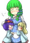 3girls arguing blush frog_hair_ornament gaoo_(frpjx283) hair_ornament hand_on_another's_head highres kochiya_sanae moriya_suwako multiple_girls petting role_reversal smile snake_hair_ornament tagme touhou yasaka_kanako younger