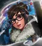 1girl adjusting_glasses brown_eyes brown_hair glasses gloves hair_bun hair_ornament hairpin lipstick looking_at_viewer magion02 makeup mei_(overwatch) overwatch parted_lips profile smile solo
